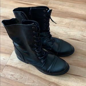 STEVE MADDEN TROOPA 10M WOMENS BOOTS BLACK LEATHER